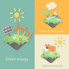 Green Energy, nature products clean drinking water concept