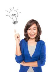 Woman smiling pointing up showing doodle light bulb idea.