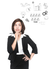 Thinking young business woman with pencil isolated