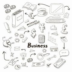 Doodle business diagrams set on blackboard  illustration