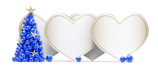 Heart white Cards with Christmas tree