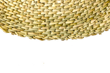 Half-Circled Rattan Mat on white background