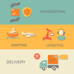 set of logistics safekeeping delivery shipping isolated