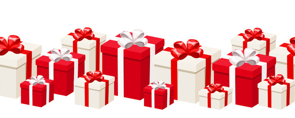 Horizontal seamless background with white and red gift boxes.