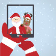 Santa Claus selfie with reindeer - 73935201