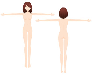 腕を広げる女性 ヌードイラスト 2カット