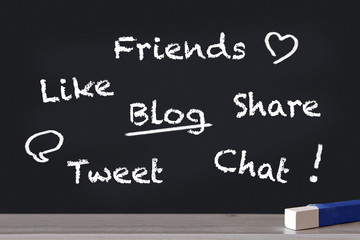 friends, like, blog, share, tweet und chat an tafel