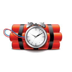Bomb with clock timer isolated on white vector