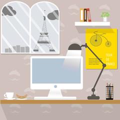 Working desk in Paris France