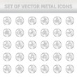 Set of metal icons on silver circles