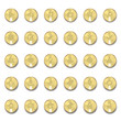 Set of metal icons with shadows on golden circles