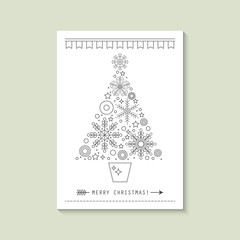 Hipster Christmas greeting card with flat line Christmas tree