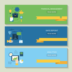 Website header design for online banking, financial management