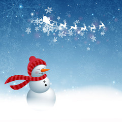Vector Illustration of a Christmas Background with Snowman