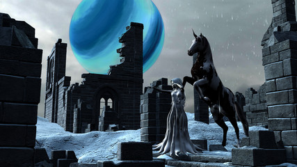 Fantasy Snow Princess Elf with her Unicorn Horse
