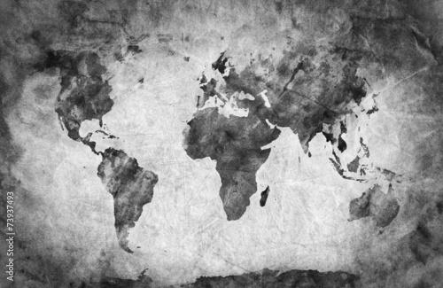 Ancient, old world map. A sketch, grunge vintage background - 73937493