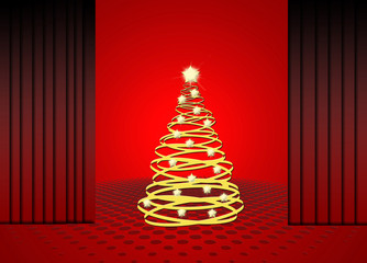 Navidad, árbol, dorado, fondo rojo, escenario, cortinas