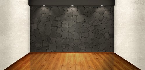 Room wall with rock texture