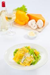 ravioli with green salad