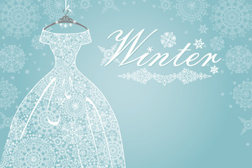 Winter card.Bridal dress with snowflake lace