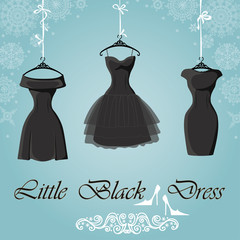 Little black dress. Winter Snowflakes background