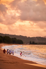 Sunset on Mai Khao beach in Phuket