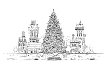 Christmas tree in city, sketch collection