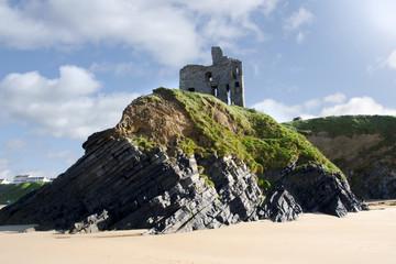 old historic Ballybunion castle on a cliff edge