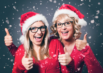 two Santa-girls with glasses-Santagirl 09