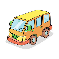Cartoon Bus  Colored