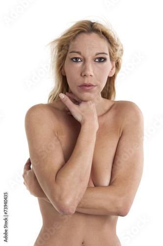 canvas print picture blonde nackte Frau auf grauem Hintergrund