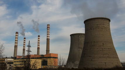 Smoking Chimneys Of Power Station. Air Pollution Time Lapse
