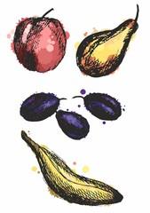 blot colored fruits, vector illustration