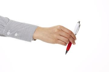 Hand überreicht Stift 2