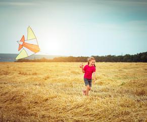 beautiful little girl witha kite