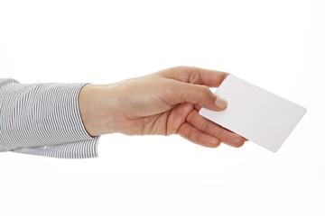 Hand überreicht Visitenkarte 2