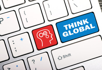 think global concept on keyboard