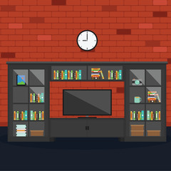 Vector of Living room with brick wall