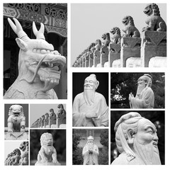 chinese sculptures collage