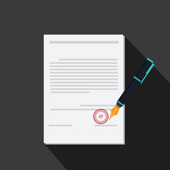 vector of signing contract with long shadow style