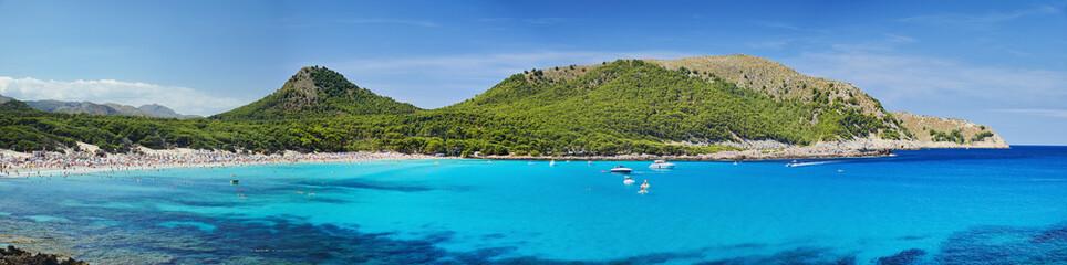 The stunning sea of Mallorca. Big panorama, Summer time.