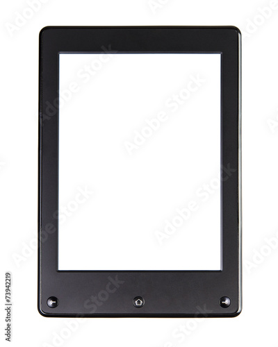 Leinwanddruck Bild Portable e-book reader for book and screen. You may add your own