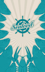 vector banner for seafood with a ship wheel, fish and lobster