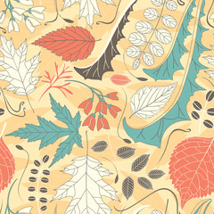 coloured leaves on a yellow background