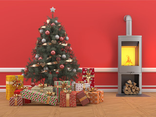 Árbol de Navidad con regalos en habitación roja con chimenea
