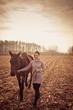 Obrazy na płótnie, fototapety, zdjęcia, fotoobrazy drukowane : beautiful woman with horse