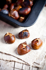 roasted chestnuts in a pan