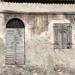 old vintage green wooden door and window