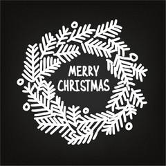 Hand drawn Christmas doodle wreath, blackboard