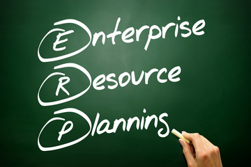 Hand drawn Enterprise resource planning (ERP) on blackboard